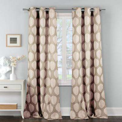 Zaria 38 in. W x 84 in. L Polyester Window Panel in Coffee