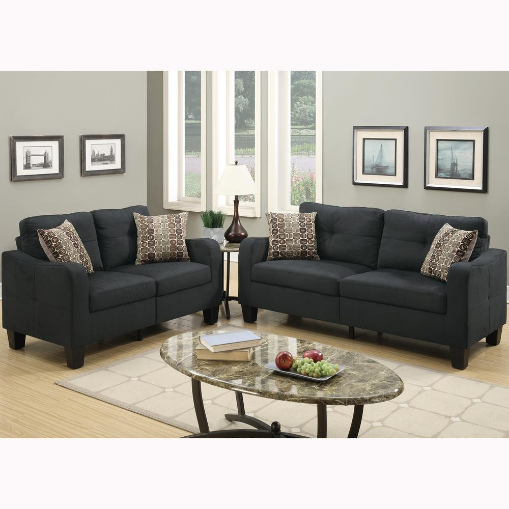 Venetian Worldwide Calabria 2-Piece Black Sofa Set-VENE