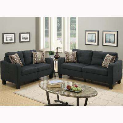 Calabria 2-Piece Black Sofa Set