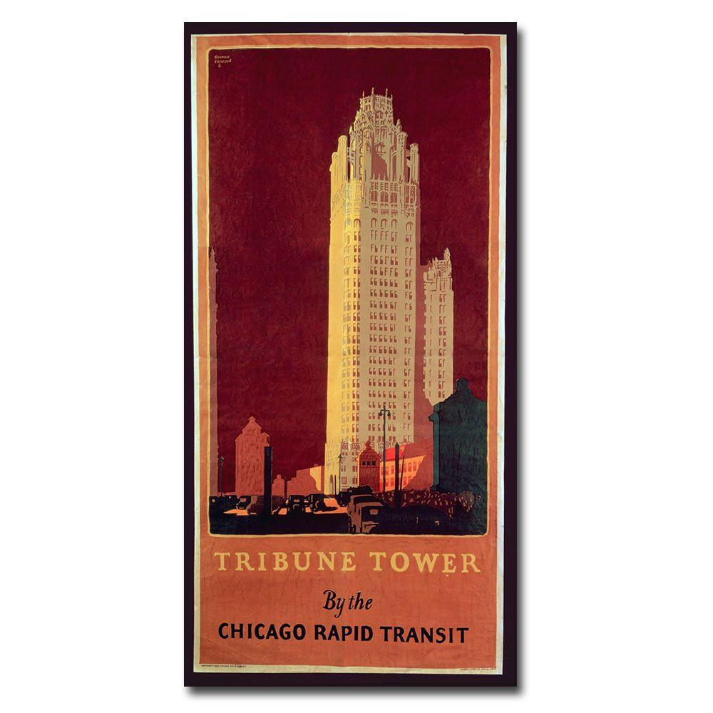 24 in. x 12 in. Norman Erikson Tribune Tower Canvas Art