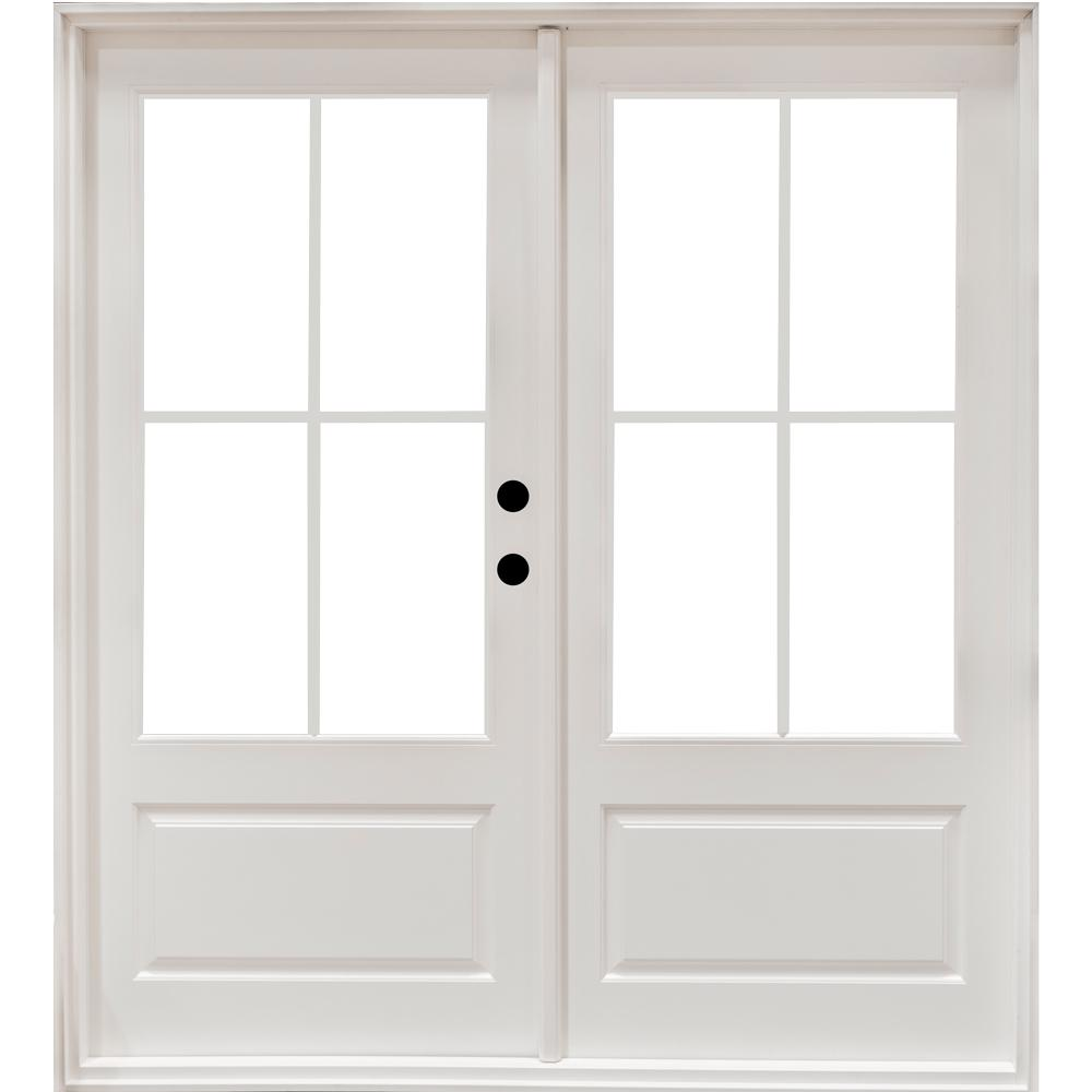 Mp Doors 72 In X 80 In Fiberglass Smooth White Left Hand Outswing Hinged 3 4 Lite Patio Door