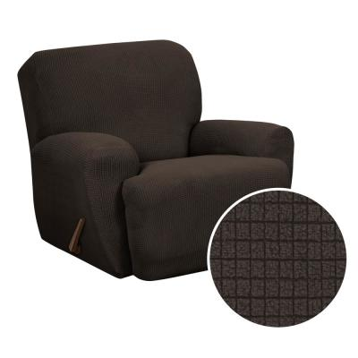 Reeves Stretch Chocolate 4-Piece Recliner Slipcover