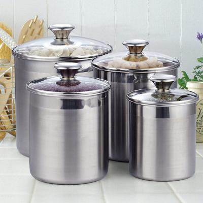 02553 4-Piece Stainless Steel Canister Set