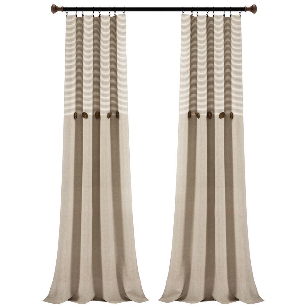 Farmhouse Button Stripe Yarn Dyed Woven Cotton Window Curtain Panels Linen 40X95 Set
