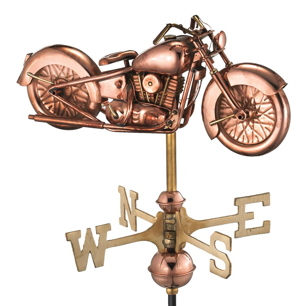 Good Directions Motorcycle Garden Weathervane   Pure Copper With Garden Pole