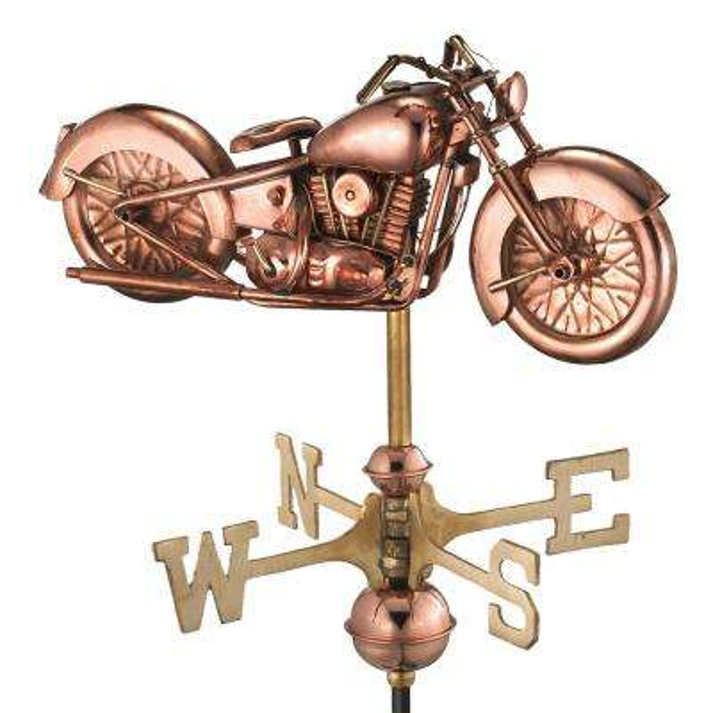 Motorcycle Garden Weathervane - Pure Copper with Garden Pole
