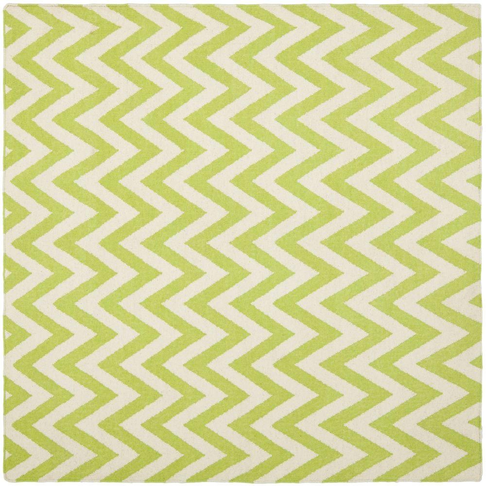 Dhurries Green/Ivory 6 ft. x 6 ft. Square Area Rug