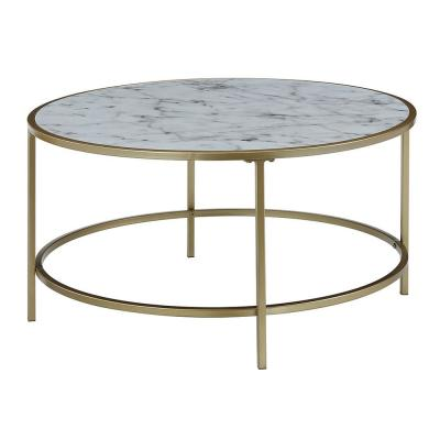 Gold Coast Faux Marble and Gold Round Coffee Table