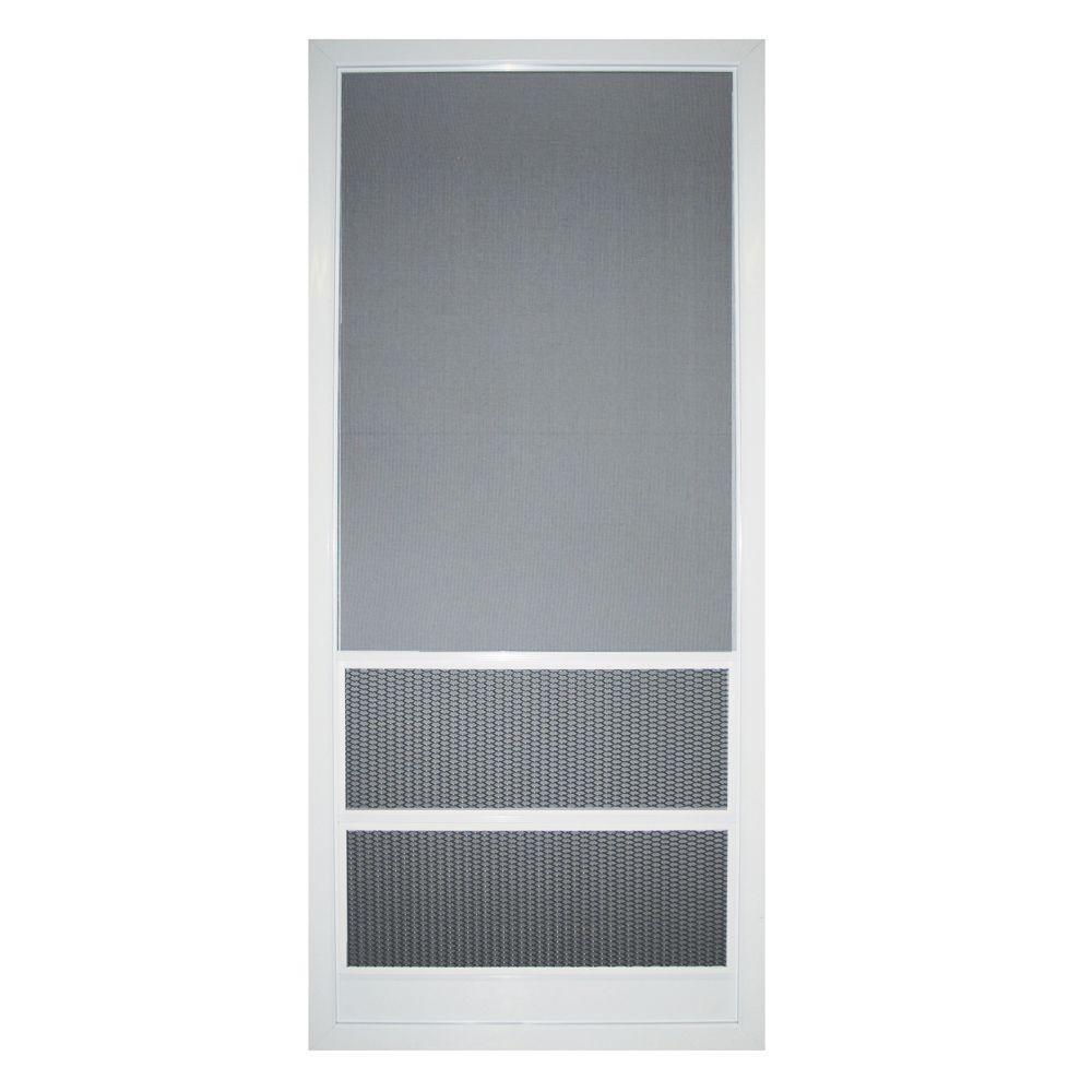 36 in. x 80 in. Aluminum White Paradise Cove Screen Door