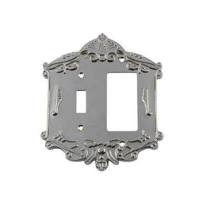 Victorian Switch Plate with Toggle and Rocker in Bright Chrome
