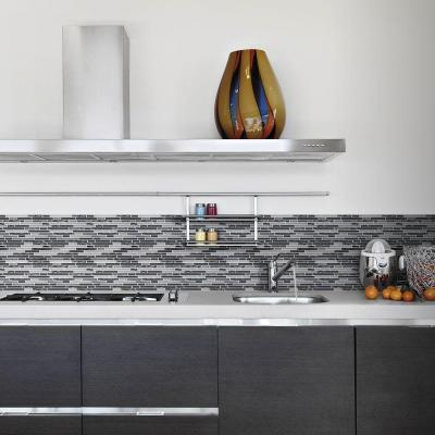 Waves of Grey 11.50 in. x 11.875 in. x 9 mm Interlocking Glossy Glass/Metal Mosaic Tile