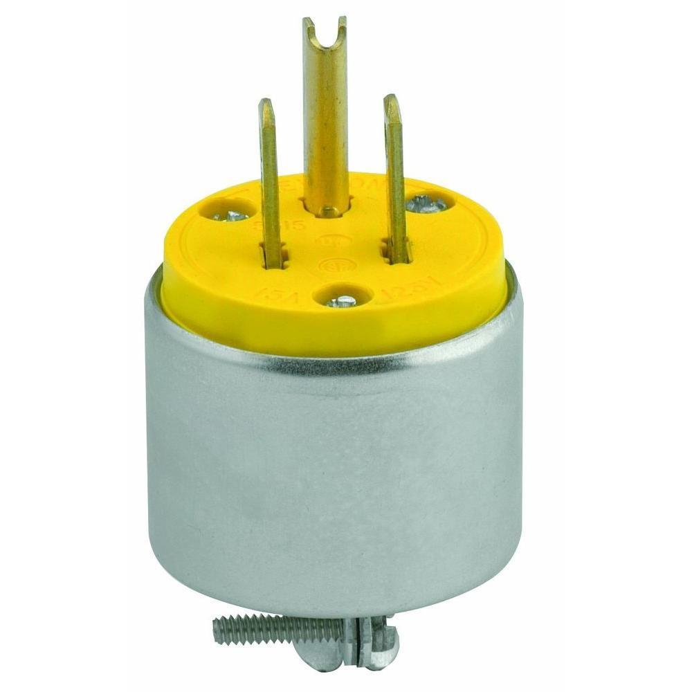 Orange Leviton 515PV-OR 100 Pack 15 Amp Straight Blade Grounding Plug