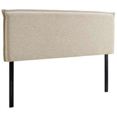 Camille Full Upholstered Fabric Headboard in Beige