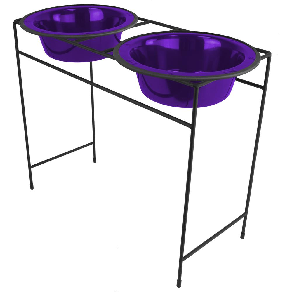 10 Cup Modern Double Diner Feeder with Dog Bowls, Electric Purple