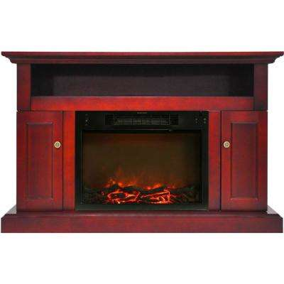 Sorrento 47 in. Electric Fireplace Mantel with Insert in Cherry