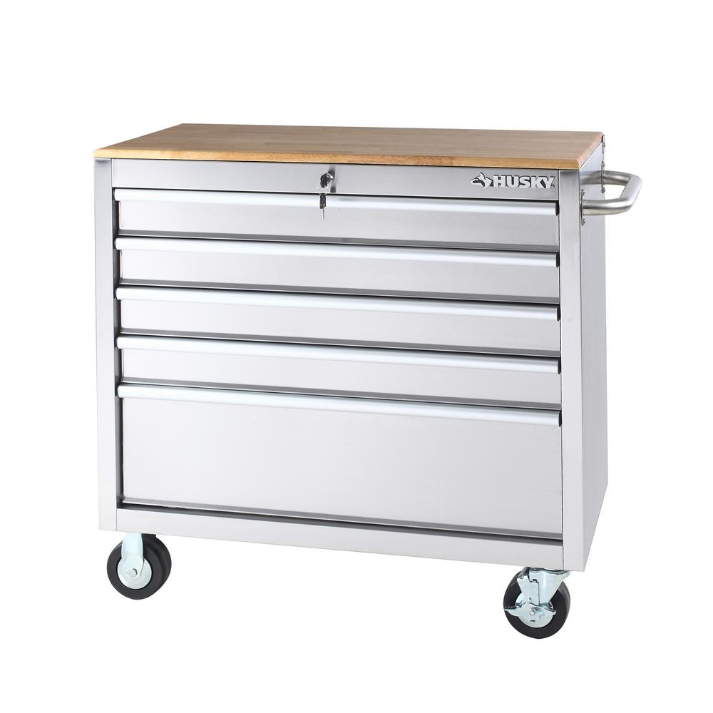 39 in. 5-Drawer Mobile Workbench in Stainless Steel with Wood Top