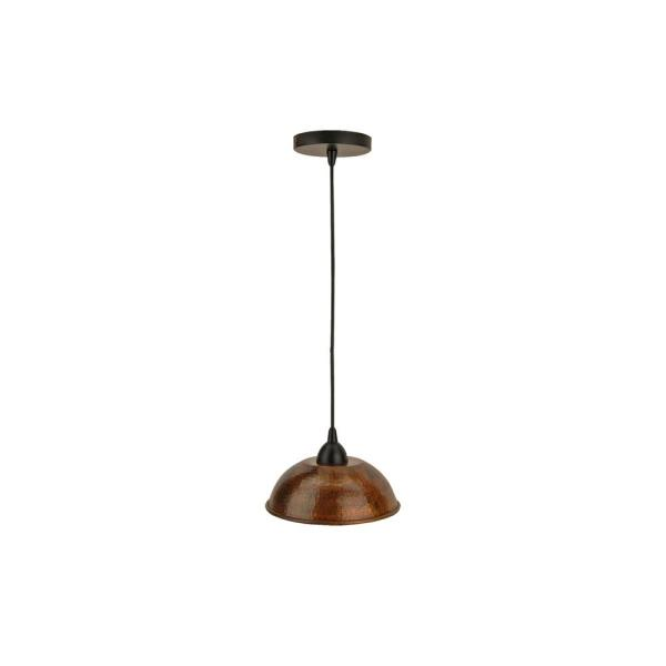 1-Light Hammered Copper Ceiling Mount Dome Pendant in Oil Rubbed Bronze