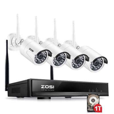 4-Channel 1080p 1TB Hard Drive NVR Security Camera System with 4 Wireless Bullet Cameras