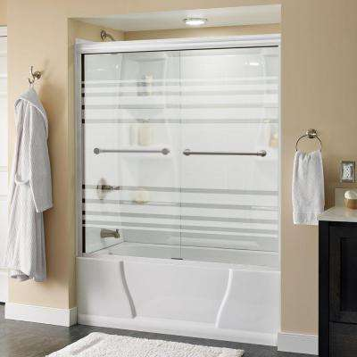 Phoebe 60 in. x 58-1/8 in. Semi-Framed Sliding Tub Door in White with Transition Glass and Nickel Handle