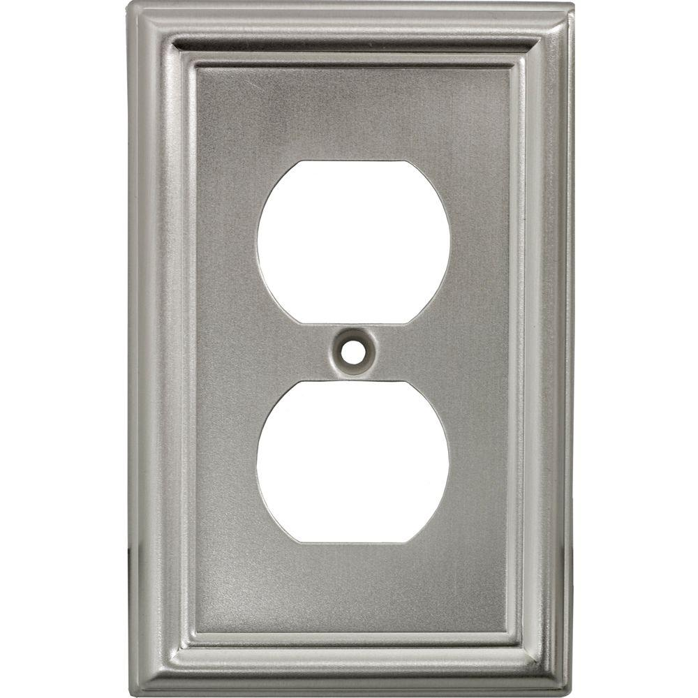 power gear 2 receptacle steel wall plate faux brushed nickel 40308 the home depot. Black Bedroom Furniture Sets. Home Design Ideas