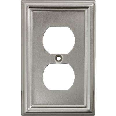 2 Receptacle Steel Wall Plate, Faux Brushed Nickel