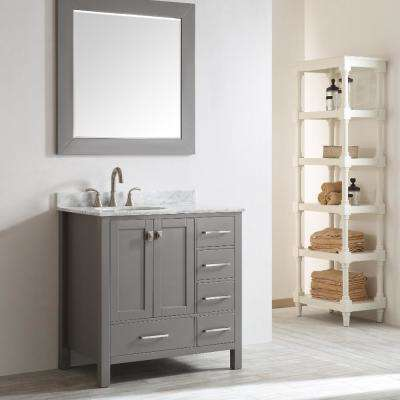 Aberdeen 35 in. W x 22 in. D x 35 in. H Vanity in Grey with Carrara Marble Vanity Top in White with White Basin