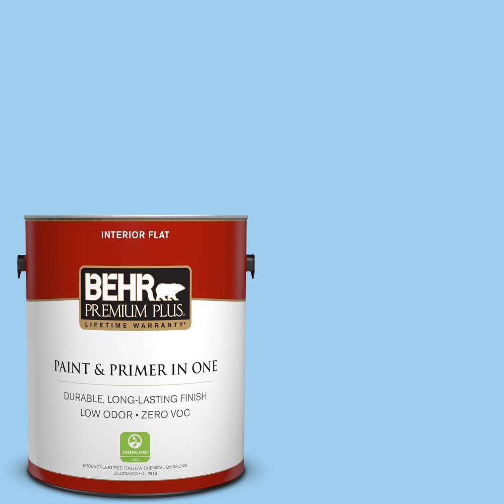 1 gal. #P500-3 Spa Blue Flat Zero VOC Interior Paint and