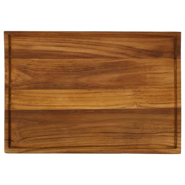 20 in. x 15 in. Rectangle Wooden Teak End Grain Cutting Board with Cured Beeswax Finish