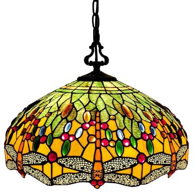 2-Light Tiffany Style Dragonfly Hanging Pendant with Glass Shade