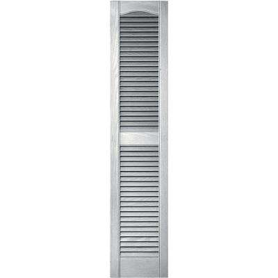 12 in. x 55 in. Louvered Vinyl Exterior Shutters Pair in #117 Bright White