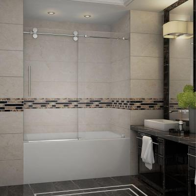 Langham 60 in. x 60 in. Completely Frameless Sliding Tub Door in Stainless Steel with Clear Glass