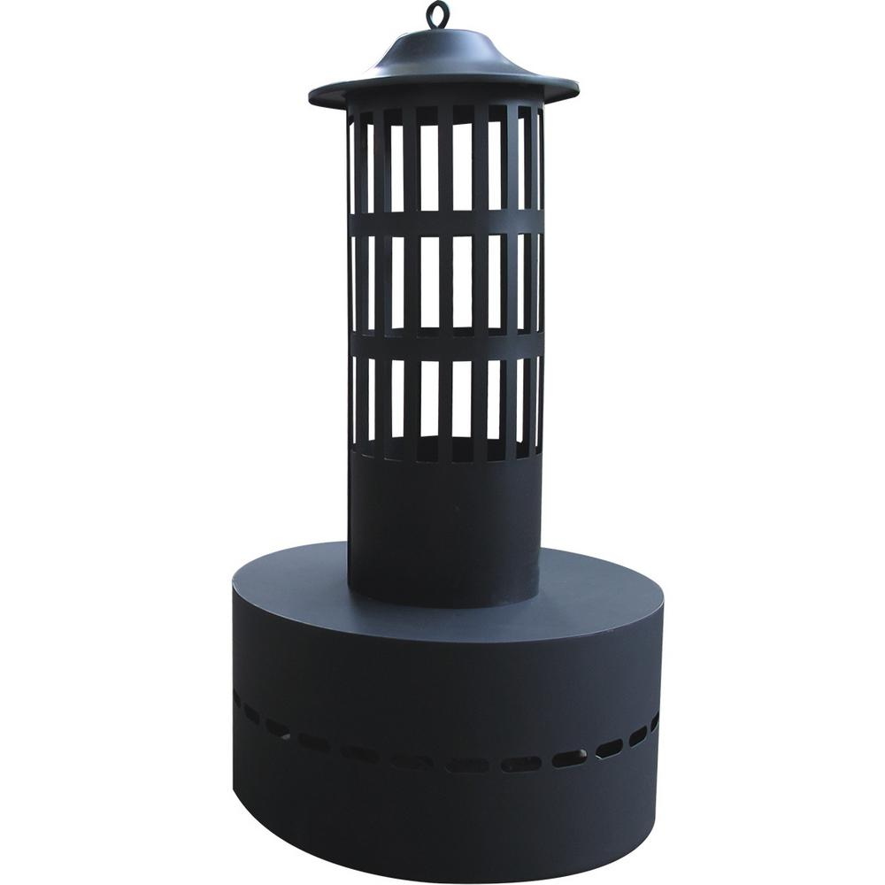 HY-C 13.5 in. Steel Fire Log Flame Tower Fire Pit in Black
