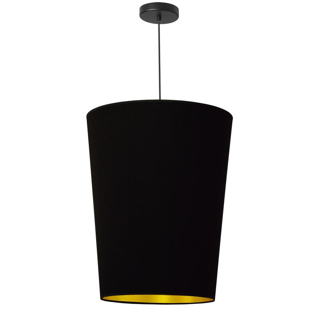 Paisley 1-Light Black Pendant with Laminated Fabric Shade