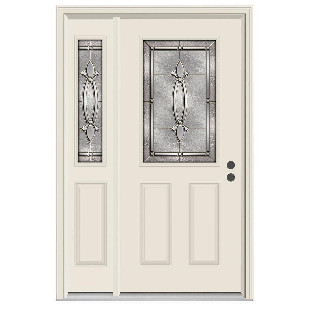 52 in. x 80 in. 1/2 Lite Blakely Primed Steel Prehung Left-Hand Inswing Front Door with Left-Hand Sidelite