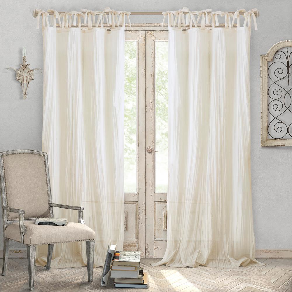 Jolie Ivory Crushed Semi Sheer Tie Top Window Curtain - 52 in. W x 84 in. L