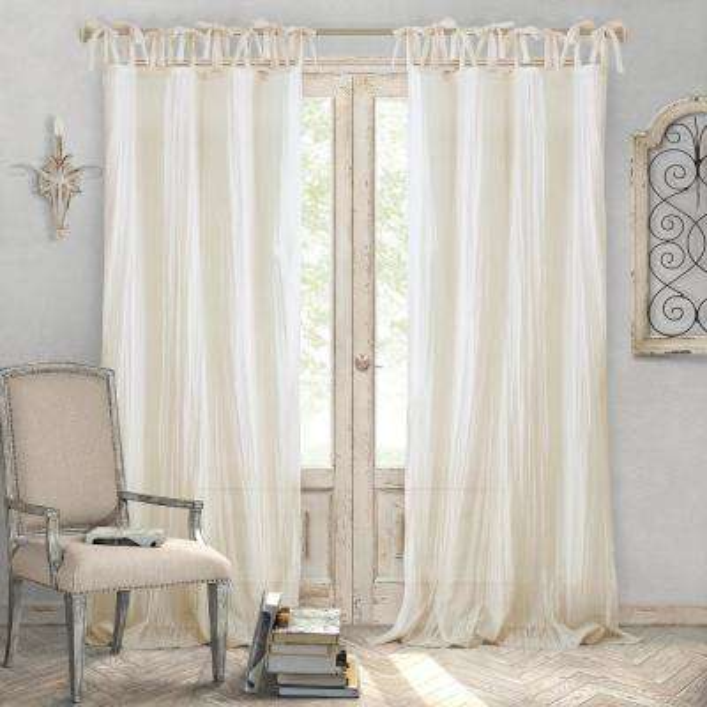 Jolie Ivory Crushed Semi Sheer Tie Top Window Curtain - 52 in. W x 108 in. L