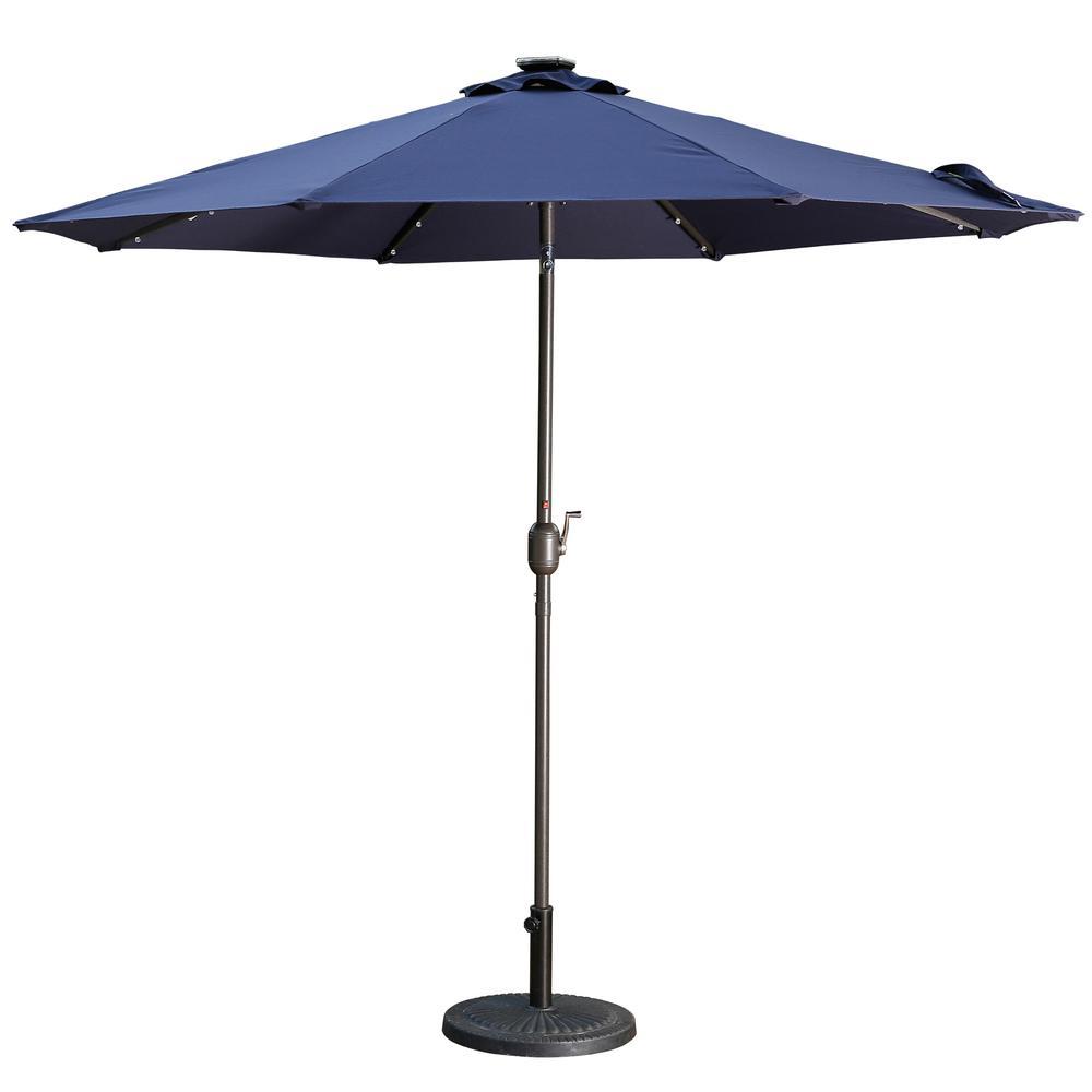 Outdoor Patio 9 ft. Aluminum Tilt Half Beach Umbrella in Navy Blue Without Base