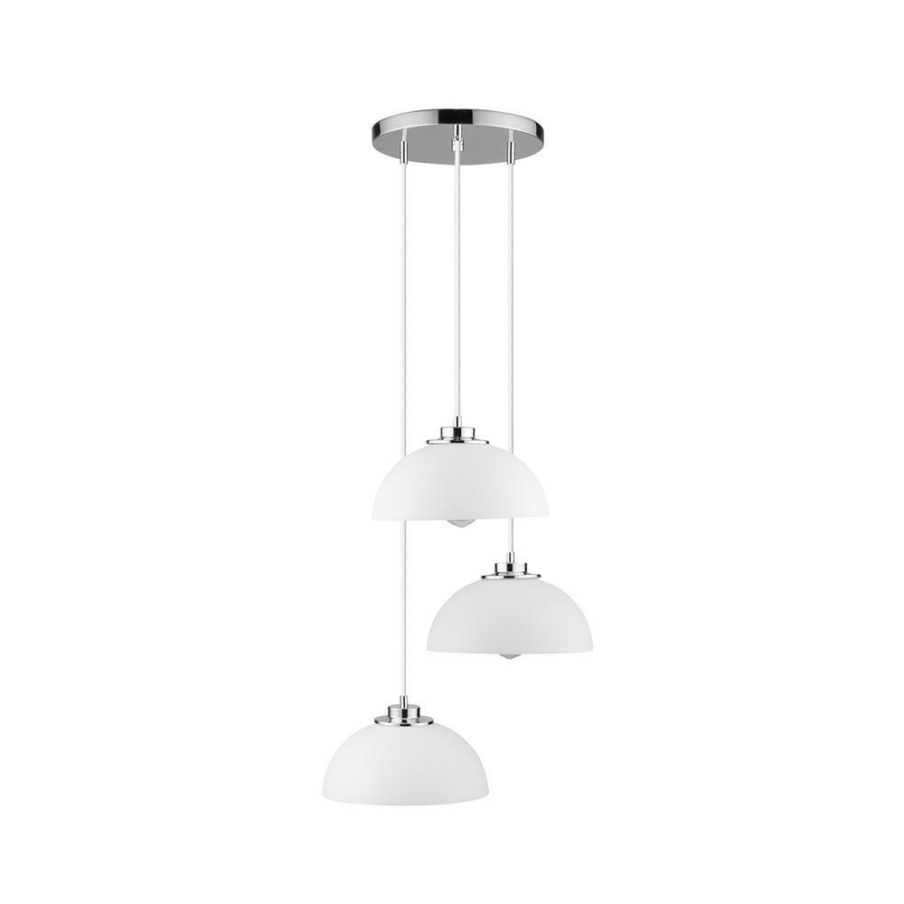 Tribeca 3-Light Chrome and White Cascading Pendant Light