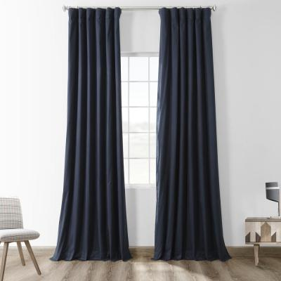 Polo Navy Blue Solid Cotton Blackout Curtain - 50 in. W x 96 in. L