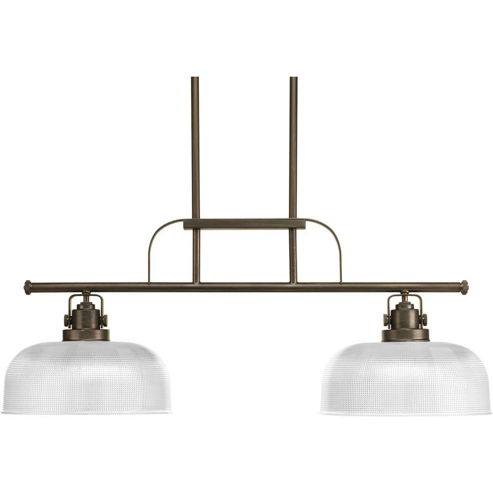 Progress Lighting Archie Collection 2-Light Venetian Bronze Chandelier with Clear Prismatic Glass Shade