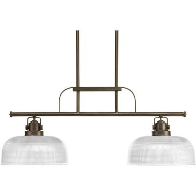 Archie Collection 2-Light Venetian Bronze Chandelier with Clear Prismatic Glass Shade