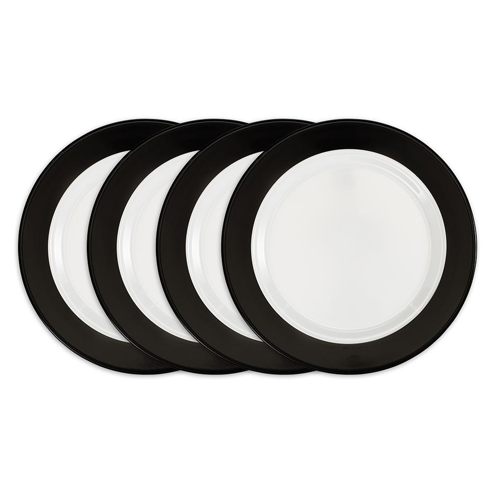Moonbeam 4-Piece Black Melamine 10.5 in. Ring Dinner Plate Set