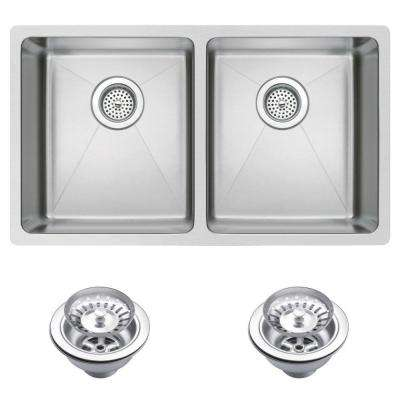 Undermount Small 27.12 in. 0-Hole Double Bowl Kitchen Sink with Strainer in Premium Scratch Resistant Satin Finish