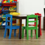 Discover 5-Piece Dark Walnut/Primary Kids Table and Chair Set