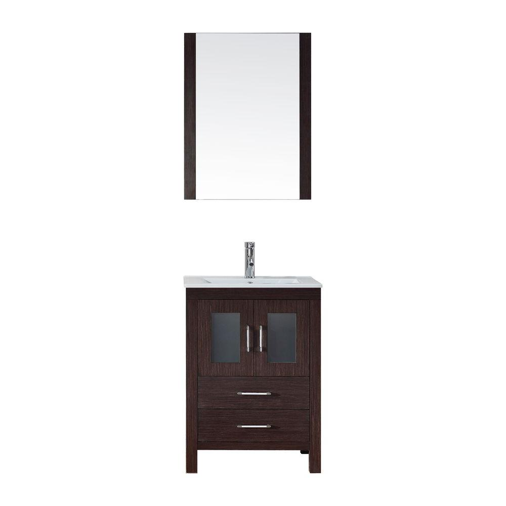 Virtu USA Dior 24 in. W Bath Vanity in Espresso with Ceramic Vanity Top in White with Square Basin and Mirror and Faucet