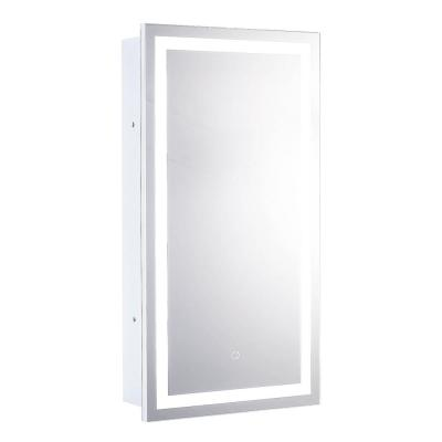 Edison 16 in. x 30 in. Recessed or Surface-Mount Medicine Cabinet with LED Tri-Color Mirror with Dimmer and Anti Fog Pad