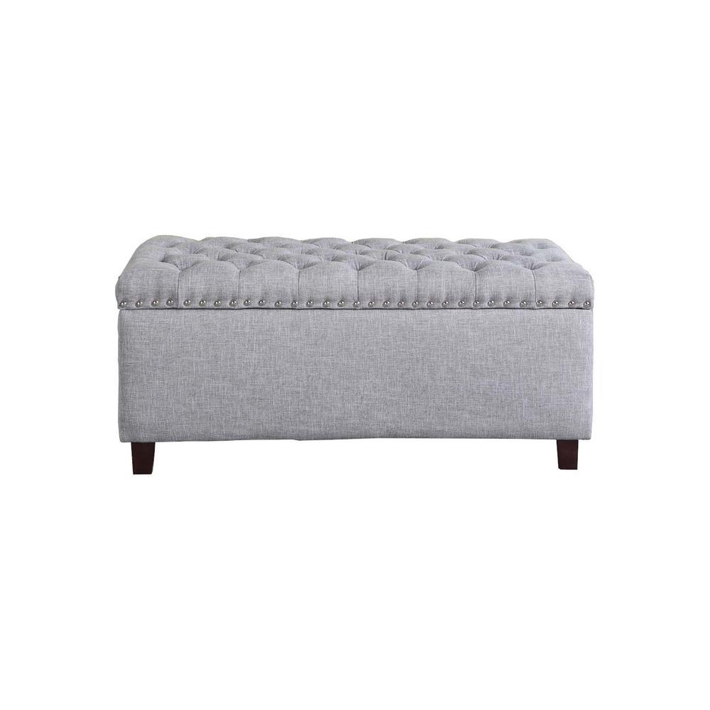 Button Tufted Gray Storage Ottoman