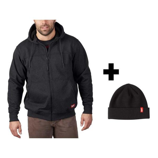 Men's X-Large Black No Days Off Hooded Sweatshirt with Black Cuffed Knit Hat