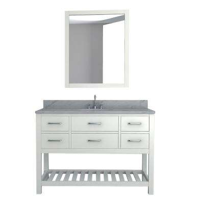 Rochester 49 in. W x 22 in. D Bath Vanity in White with Marble Vanity Top in White with White Basin and Mirror