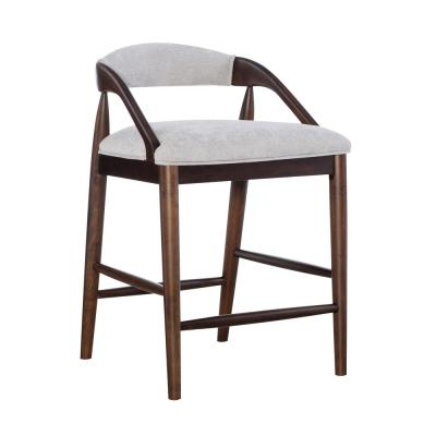 Nyla 27 in. Counter-Height Walnut Brown Wood Grey Upholstered Stool